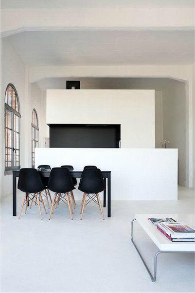 black Eames chair + white interior