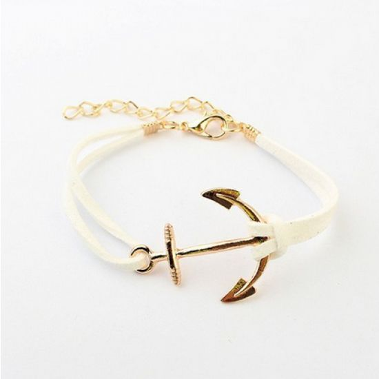 White Anchor Bracelet Handmade, independent, or otherwise cool!