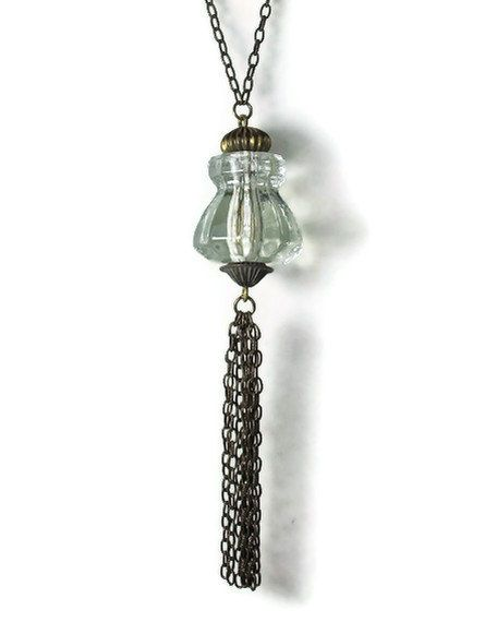 Long Upcycled Necklace  Repurposed Jewelry Tassel by BluKatDesign, $21.00