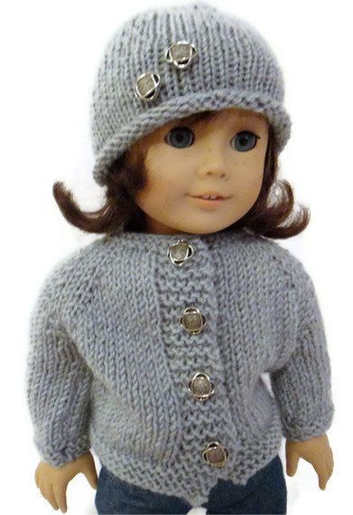 Hat and Sweater set Gray American Girl Doll by PreciousBowtique, $14.00