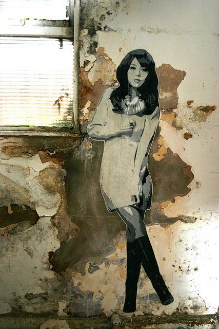 #streetart #zhe155  China girl lifesize stencil, via Flickr.