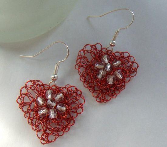 Hand Crochet Wire and Czech Glass Heart Valentine by PrayerMonkey, $13.00