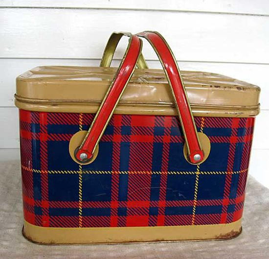 Vintage 1950's Tin Picnic Basket Storage Tin Box  Container Red Blue and Tan Plaid Double Handles
