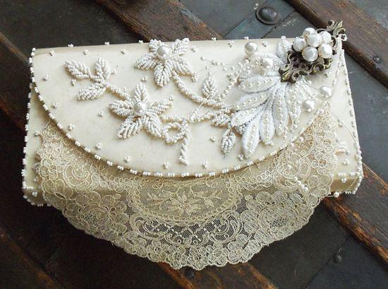 Vintage# white# ivory # bridal purse# beaded flowers# vintage lace and# vintage hardware# OOAK