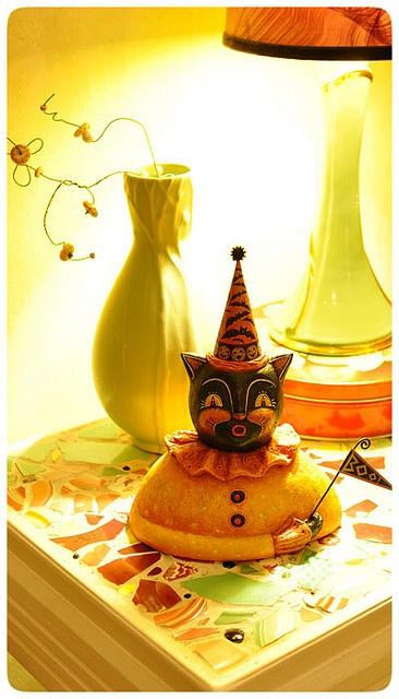 Halloween folk art black cat bust by Johanna Parker
