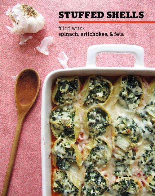 spinach, artichoke, and feta stuffed shells