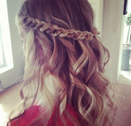 .Half updo with braid around crown