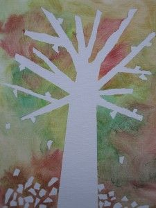 Watercolor tree art project, great for very young kids--adult places masking tape in pattern of a tree, kids paint over as much as they want. When you remove the masking tape, a tree is waiting underneath!!