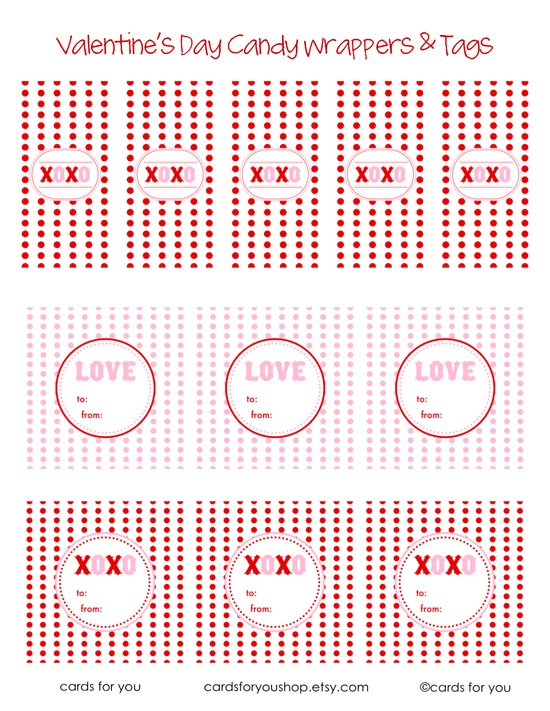 Ucreate: Valentine Candy Wrappers & Tags by A Little Lovely