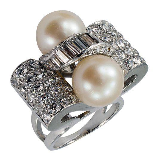 Cultured Pearl & Diamond Retro Cocktail Ring #TuscanyAgriturismoGiratola
