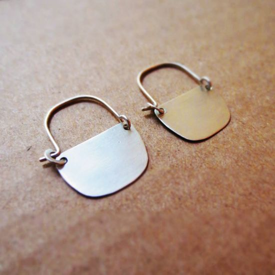 Boat Plate Silver Earrings by Laminar on Etsy, 35.00