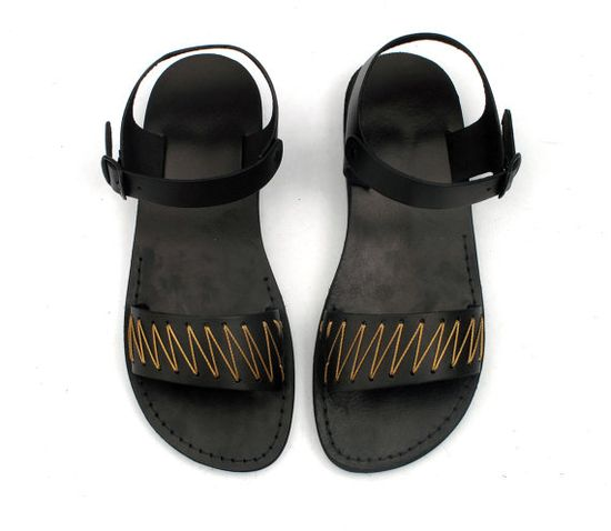 Black Leather Sandals with Golden Yarn by EliranNargassi, $53.00