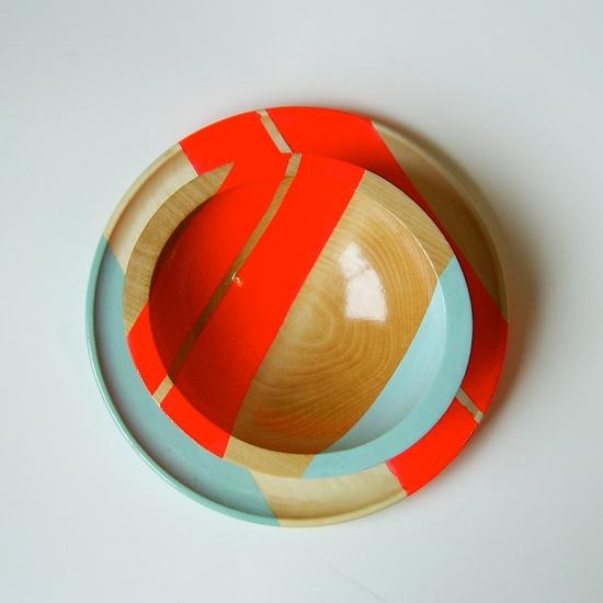 Modern Neon Hardwood Bowl #Etsy #JonathanAdler #GetChicSweepstakes