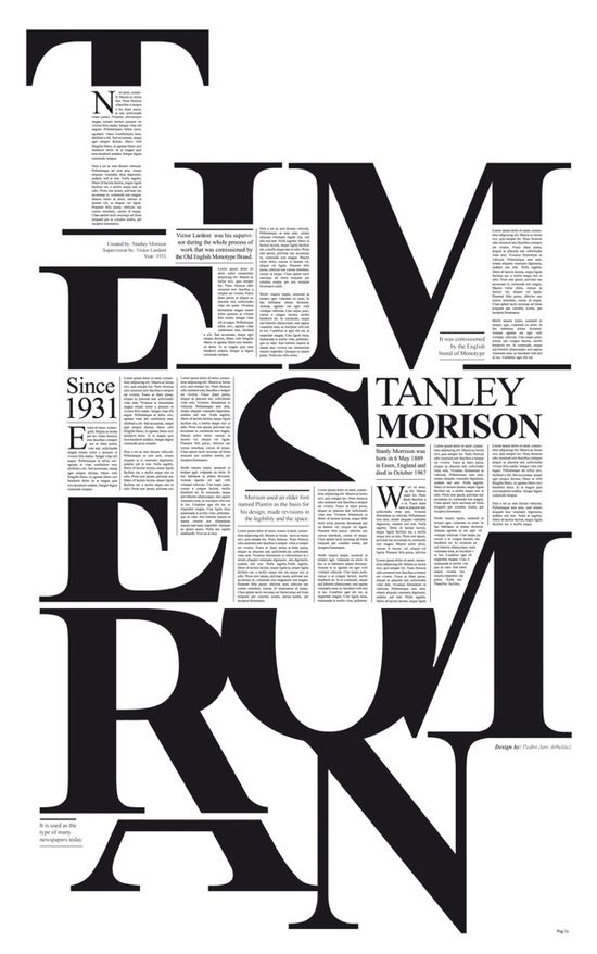 This typography looks like a newspaper or magazine and makes a new design with letters and letters.