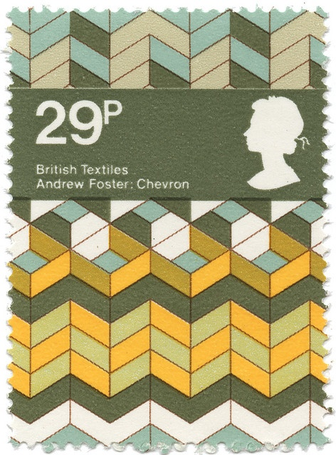 Andrew Foster textile print on a stamp