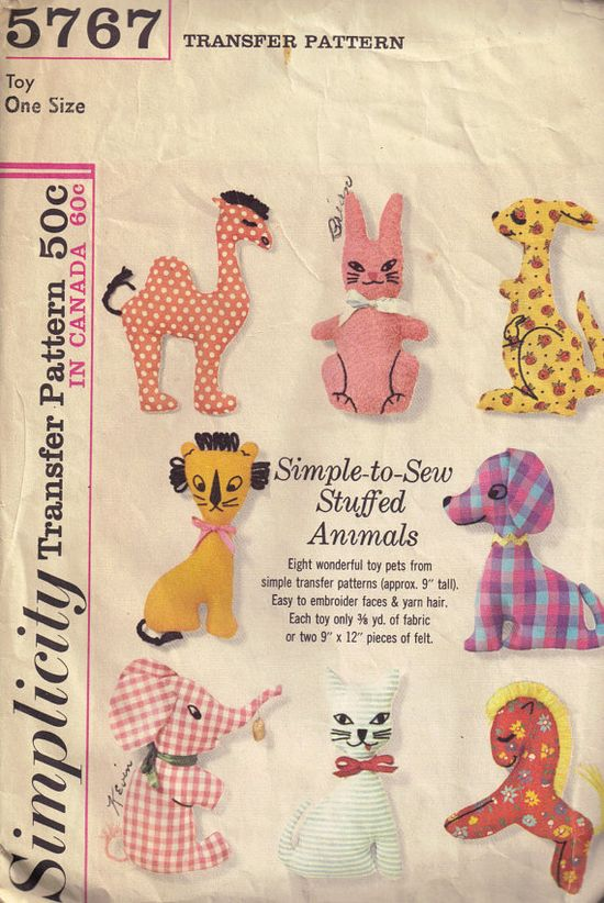 Vintage 1960s Simplicity 5767 Stuffed Animal