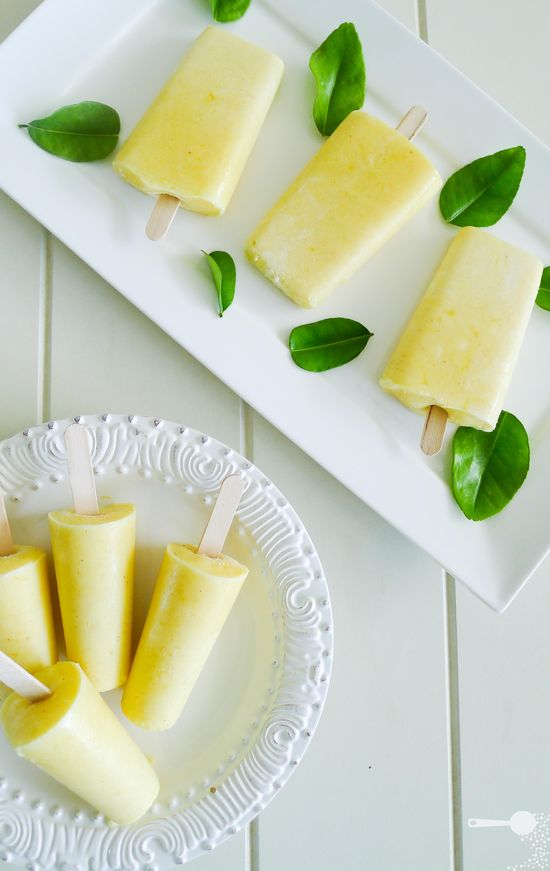Mango and yogurt ice pops