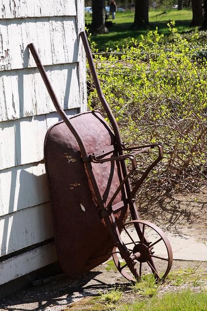 old iron wheelbarrow