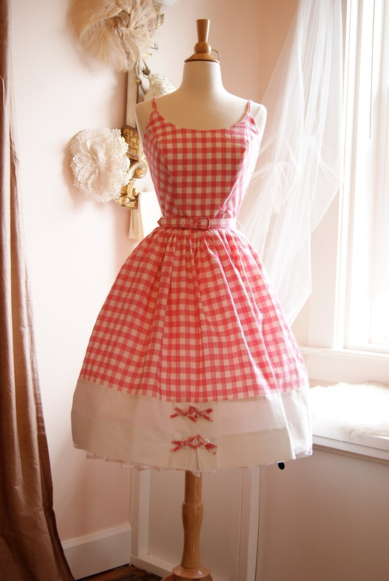 Pigtails Optional #dress #1950s #partydress #vintage #frock #retro #sundress #teadress #petticoat #romantic #feminine #fashion #plaid #gingham #checkered