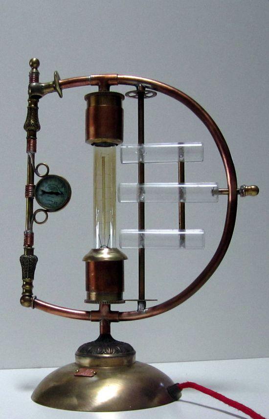 "Steampunk Lamp - ""Galvanic Impulse"" A unique copper and brass desk light. By STEAMPUNKOZ on Etsy"