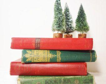 Vintage Books + Mini Trees // Christmas Decor