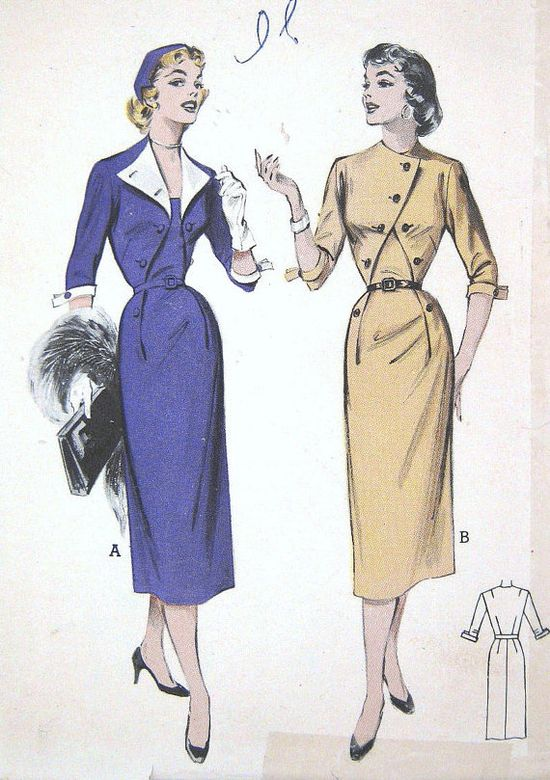 Vintage 1950s Wiggle Dress Pattern Asymmetrical