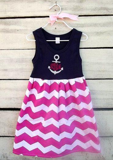 girls tank dress, girls nautical anchor navy and chevron monogrammed anchor dress, baby/toddler/girl chevron monogrammed dress,