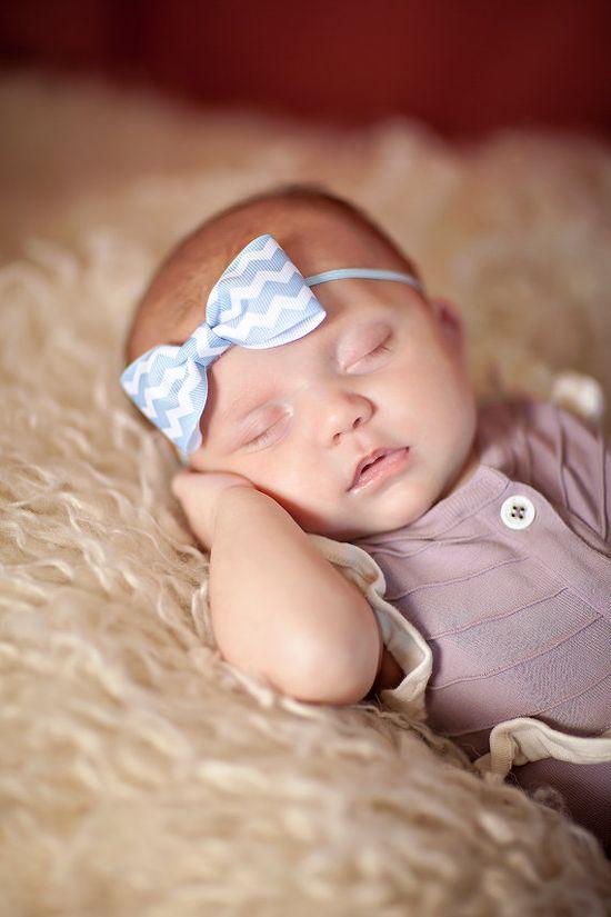 Baby Blue Chevron Handmade Bow with skinny by myheartfeltbows, $4.95