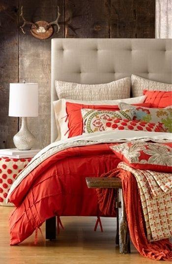 Poppy & grey bedroom, possible master bedroom colors?