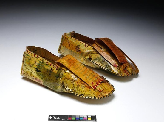PRINT OF THE MONTH: Moccasins by Lynne Allen. About 2000, Etching on handmade paper with hand-colouring, linen thread and shellac    Printmaker Lynne Allen is descended from the Hunkpapa tribe of the Lakota people. She began making objects inspired by her ancestry after reading the journals of her great-grandmother Josephine Waggoner. The decoration on these moccasins is derived from images in the journals and text in Native American ledger books.