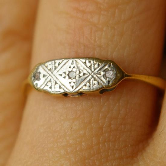 Antique 1910 Diamond, Platinum & 18k Gold Engagement Ring US 4.5