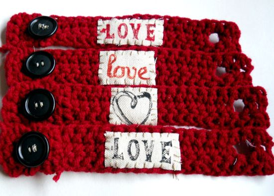 Valentines Day Love Crochet Bracelet Tattoo by Wellofcreations, $6.00