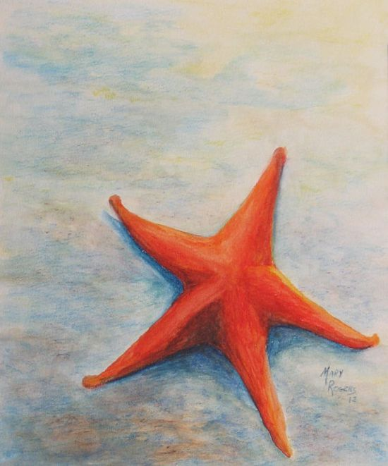 Original Watercolor Painting Starfish by sweetteadesigns on Etsy, $28.00