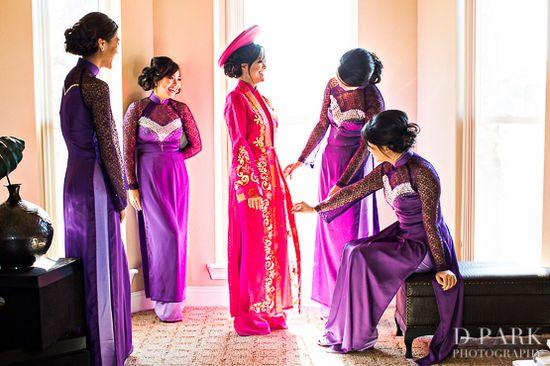 Pink and purple wedding ao dais