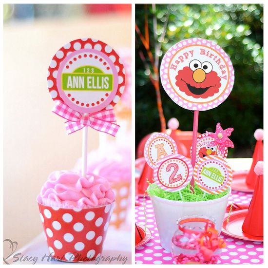 ELMO Party Printable- HUGE Pink Collection inspired by Sesame Street - Amanda's Parties To Go. $29.00, via Etsy.