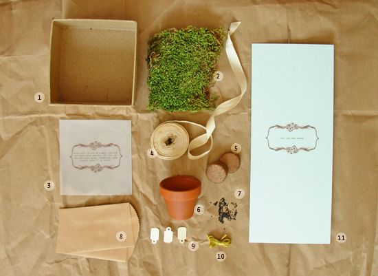 How-to: seedling kit favors from Project Wedding. This set is SO adorable and elegant. DIY things can be kind of cheesy, but this is far far from that. #wedding #favors #gifts #guests #party