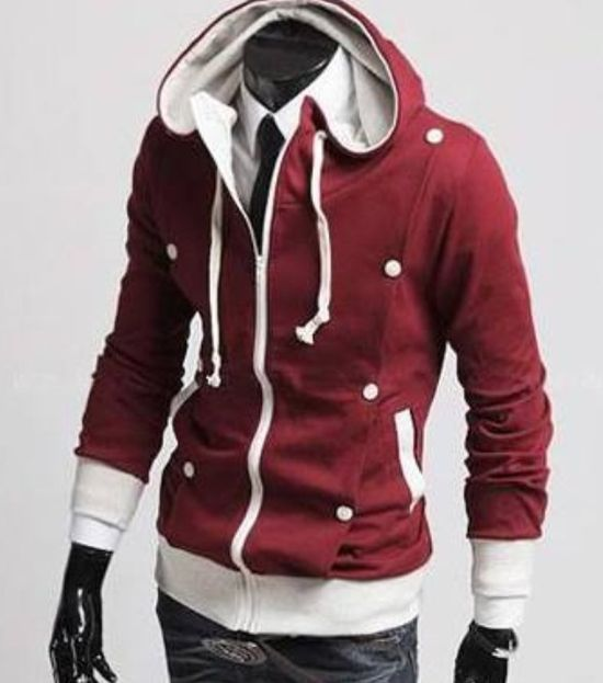 Men's fashion #red hooded jacket