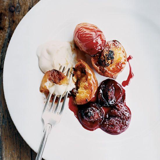Grilled Peaches & Plums with Mascarpone // More Fruit Desserts: www.foodandwine.c... #foodandwine