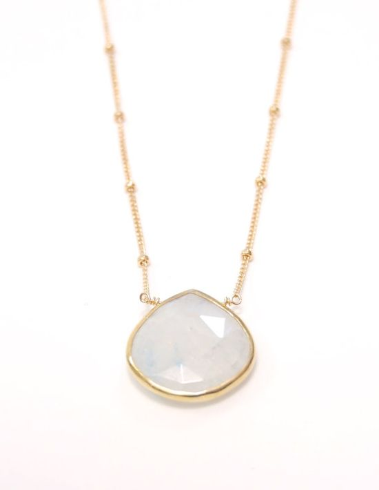 Alohanani necklace  rainbow moonstone gold by kealohajewelry