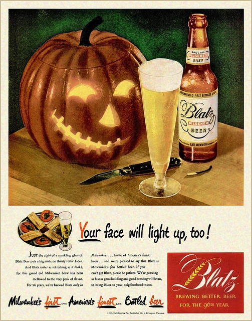 A spooktastically fun Halloween themed Blatz beer ad from 1947. #beer #ad #Halloween #vintage #retro #1940s #forties #food