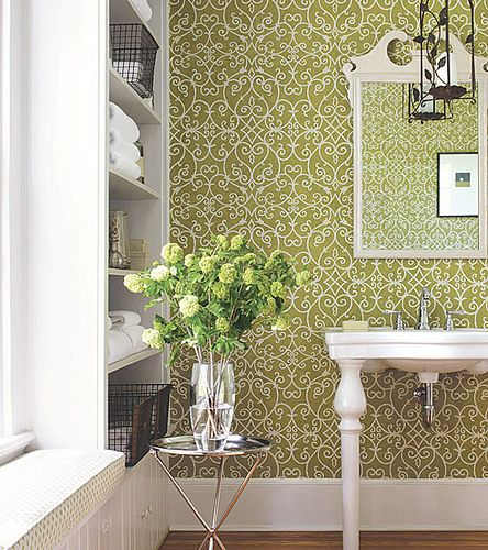 Like this green graphic wallpaper by #Thibaut!  Positano in Green from Damask Resource 3    #damask #graphic #green #white #bathroom