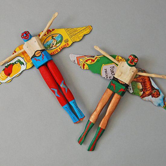 Masked Mexican Wrestler Angels #folkart