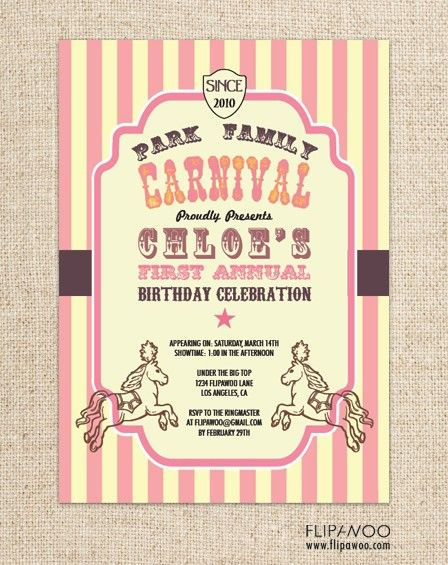 Vintage Circus or Carnival Invitation