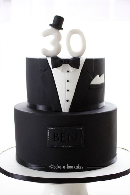 Black tuxedo cake by Bake-a-boo Cakes NZ, via Flickr