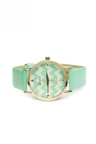 Yours Truly Watch in Mint + Chevron