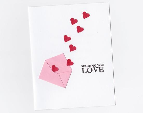 Happy Valentine's Day Handmade Valentine Card Hearts by k8cards, $3.50