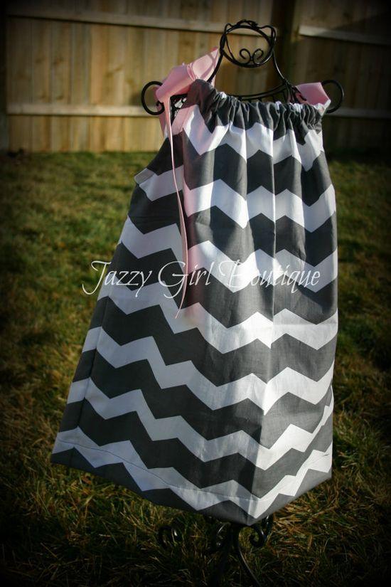 Girls Pillowcase Dress Grey Chevron Stripe by jazzygirlboutique, $18.00
