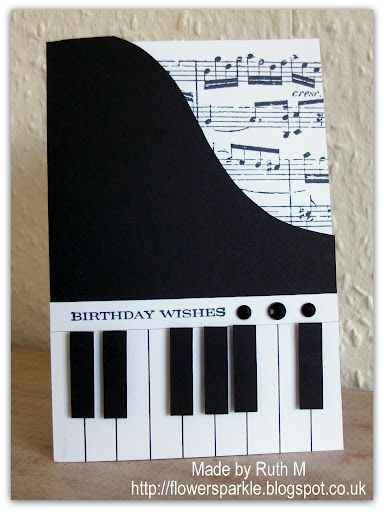 handmade birthday card by Ruth Muzeen ... black and white .. shaped like a piano ... inside shows sheet music ... great #nwa express yourself #french braid #homemade facial mask
