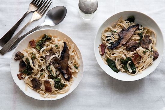 Must remember for when the weather turns again --   Wintry Mushroom and Chard Pasta With Bacon
