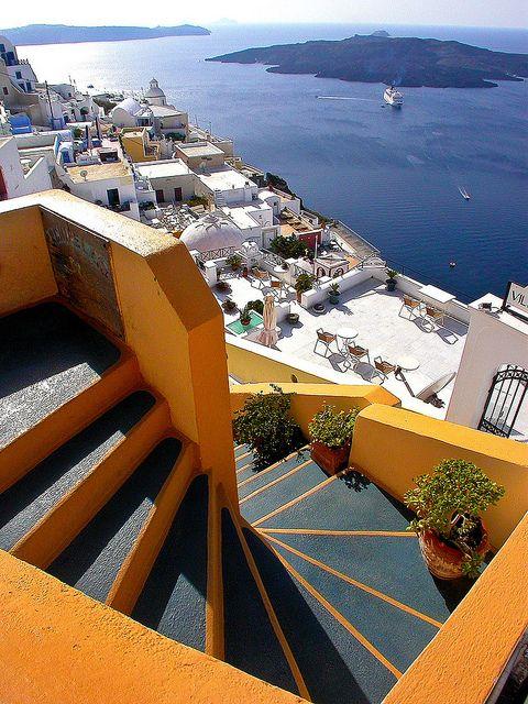 Steps above Fira Harbour, Santorini / PaulusW, via Flickr #travel